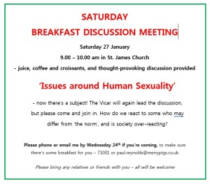 Saturday Breakfast Discussion @ Saint James, Eastbury