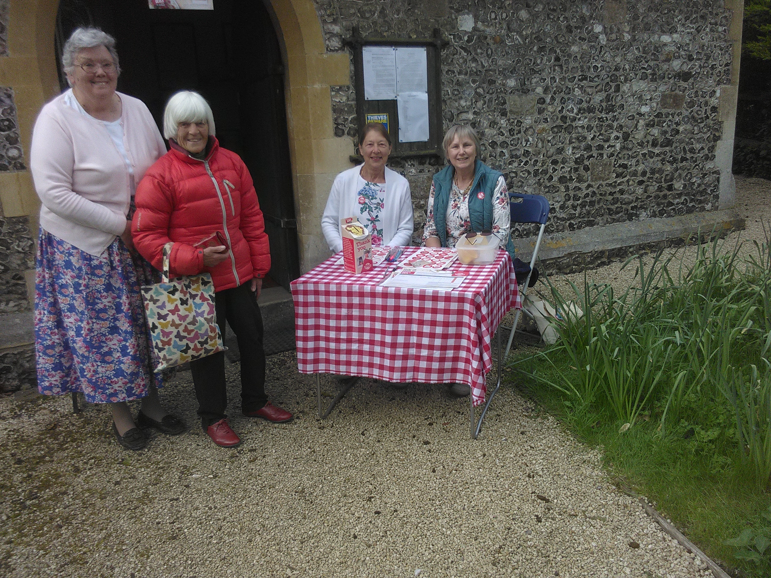 Jill, Val, Cathy and Sandra greeting visitors