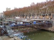 Construction de la nouvelle passerelle (novembre 2012) qui est située au même niveau que l'ancien pont Sainte-Catherine disparu en 1885
