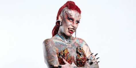 Maria Jose Cristerna - Most Body Modifications Guinness World Records 2013 Credit: Paul Michael Hughes/Guinness World Records Location: Rome, Italy