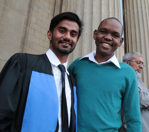 TWO OF A KIND: current Wits SRC president Shafee Verachia strikes a pose with former SRC president Sibulele Mgudlwala Photo: Lameez Omarjee