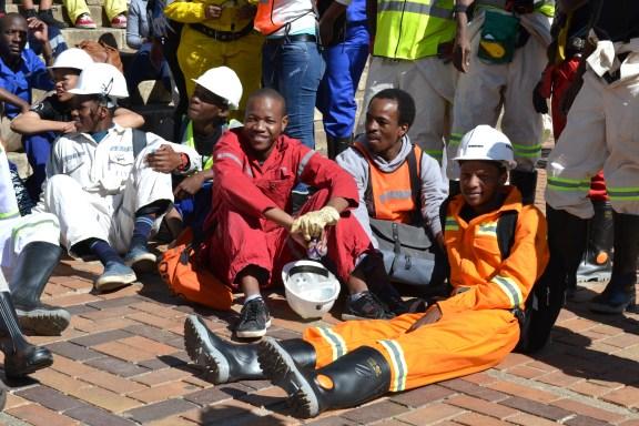 JUST LYING AROUND: Taking a break between protests. Photo: Lameez Omarjee
