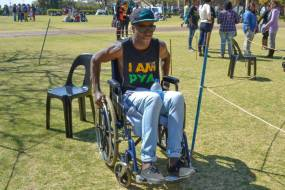 """SEE ME ROLLIN': Rolling in a wheelchair was """"painful"""" for Thabo Boom, 2nd year BA. """"I want to sleep. It feels like I'm from the gym,"""" he said. Photo: Lameez Omarjee"""