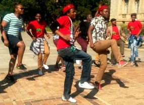 HOT STEP: EFF members sang and danced while they waited for the announcement of the new Wits SRC. Photo: Lameez Omarjee