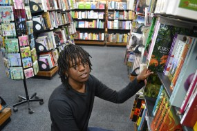 PICK A BOOK: Some of Moshe Mashela's challenges working in a bookstore is the picky customers who are not sure about the books they want to read. Photo: Lameez Omarjee