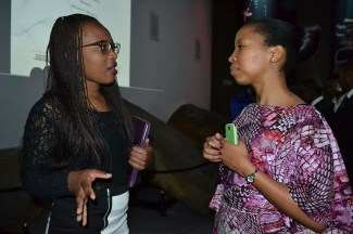 NETWORKING: Michelle Gowere,1st year BAccSci(left) was inspired by Nonkululeko Shezi's (right) story of overcoming obstacles in her career, today at Accounting School Council High Tea at the Wits Origins Centre. Photo: Lameez Omarjee