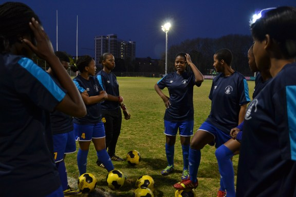 GOT THE BLUES: Despite an 11-0 victory over Midrand Graduate Institute the Wits women's soccer team did not qualify for the USSA National Club Championships. Photo: Lameez Omarjee