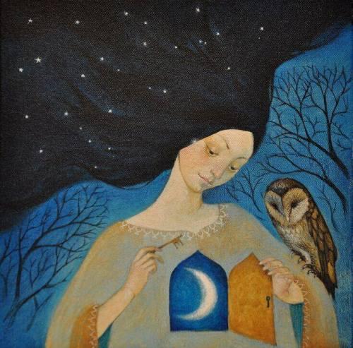 ragazza gufo e luna