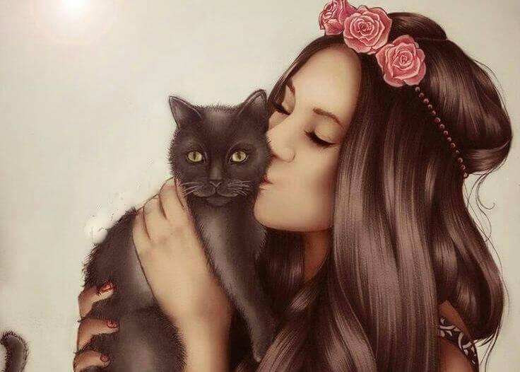 ragazza che bacia un gatto nero