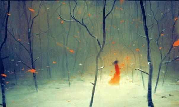 niña en bosque