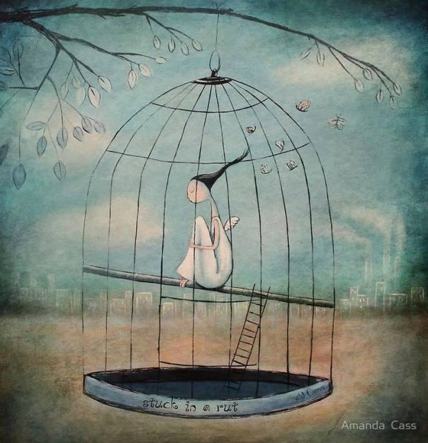 Mujer atrapada en una jaula