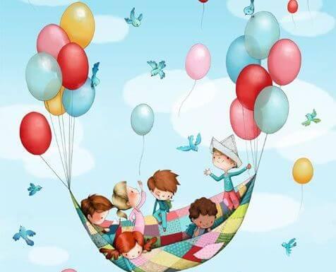 niños en globo
