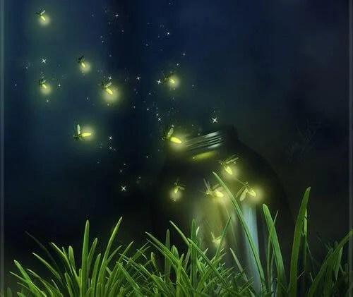 tarro con luciernagas escapando representando la fugacidad de la vida