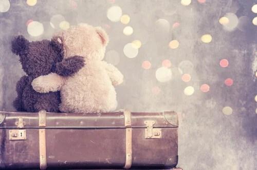 Osos de peluche abrazados encima de una maleta