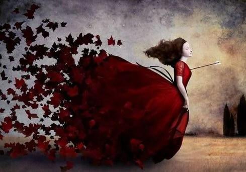 Mujer herida por una flecha