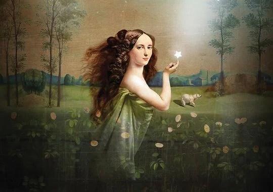 Mujer con estrella en la mano