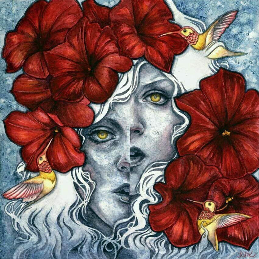 Rostro de mujer con flores y pájaros