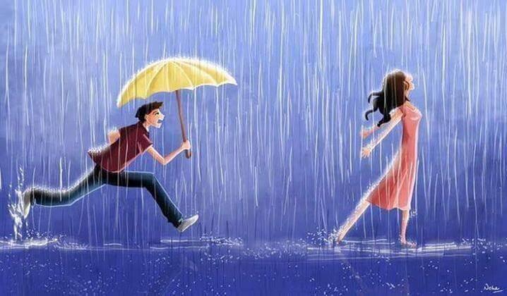Hombre con paraguas detrás de su chica
