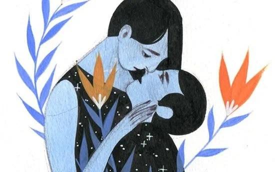 pareja en azul en la primera impresión