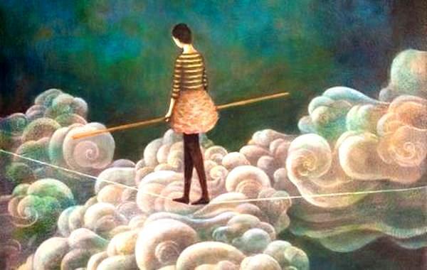 mujer cruzando nubes