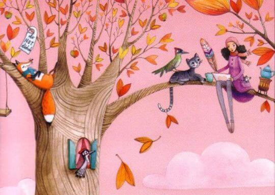 mujer sobre árbol