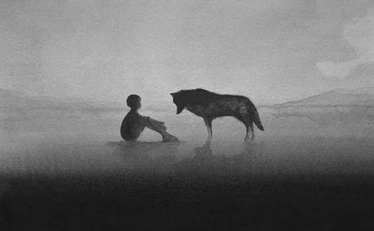 niño con lobo blanco sin negro