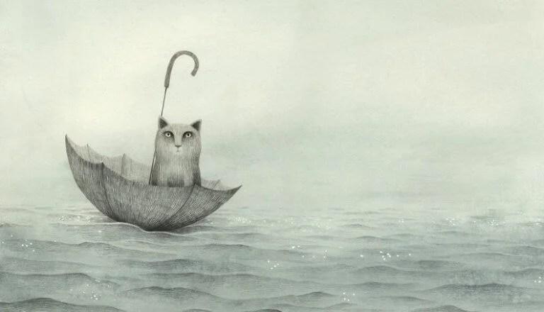 Gato no guarda-chuva