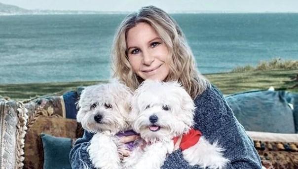 Barbra Streisand con sus perros representando el el duelo por nuestras mascotas