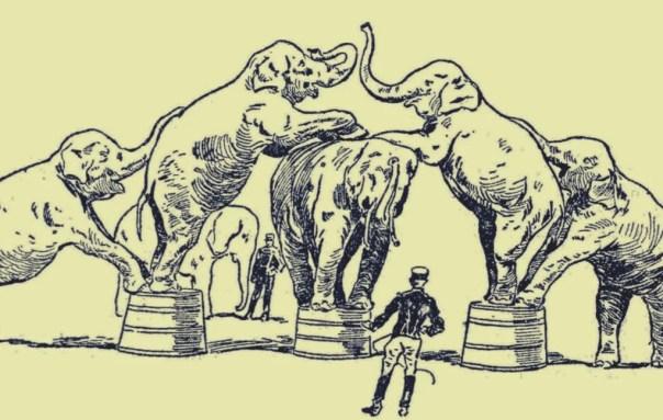 ilustración representando la historia del elefante encadenado