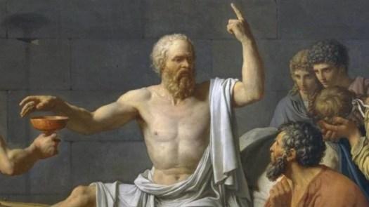 Platón señalando con un dedo hacia arriba