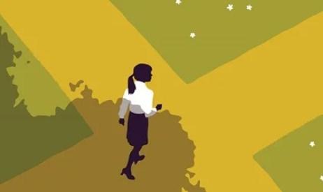 mujer en cruce de caminos usando su corteza entorrinal