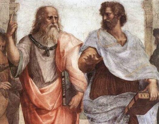 Platón y Aristóteles en la obra La escuela de Atenas