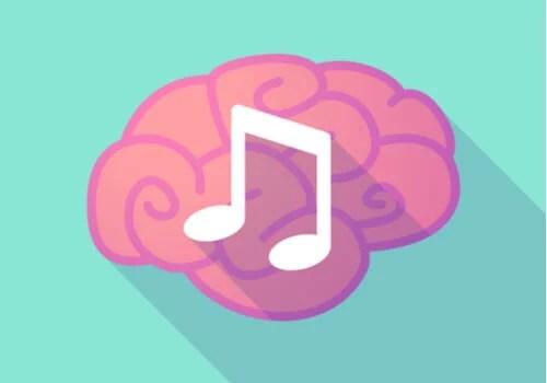 Cerebro con nota de música