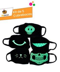 Kit Cubrebocas Fluorescentes de Tela