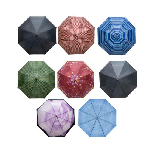 Paraguas Semiautomático De Colores Tipo Bastón