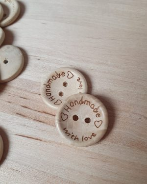"Bouton Rond ""Hand Made with Love"""