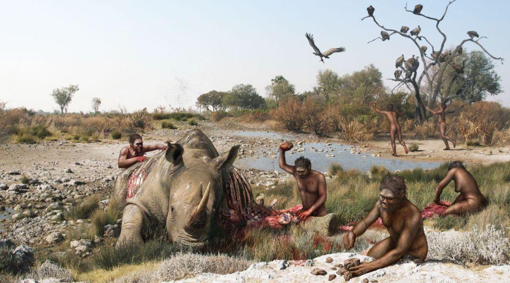 mesa-habla-casqueria-hominidos-cazando