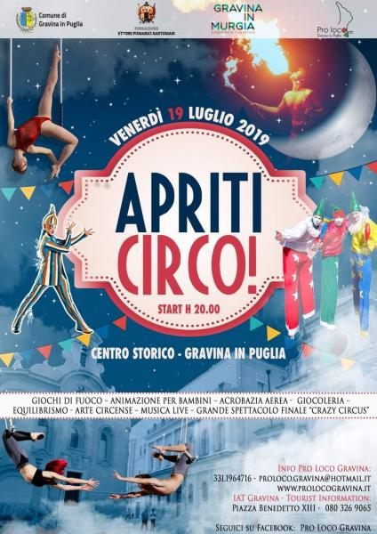 """Gravina si prepara per l'evento """"Apriti Circo!"""": Il programma completo"""