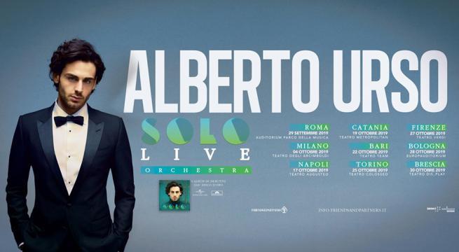 """Alberto Urso: """" Da Amici al Solo Live Tour 2019″ – il 22 Ottobre a Bari"""