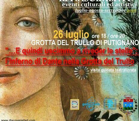 Grotta del Trullo di Putignano: evento culturale il 26 Luglio, è di scena Dante Alighieri