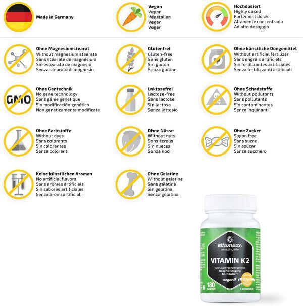 Vitamaze® Vitamina K2 MK-7 200µg Proprietà