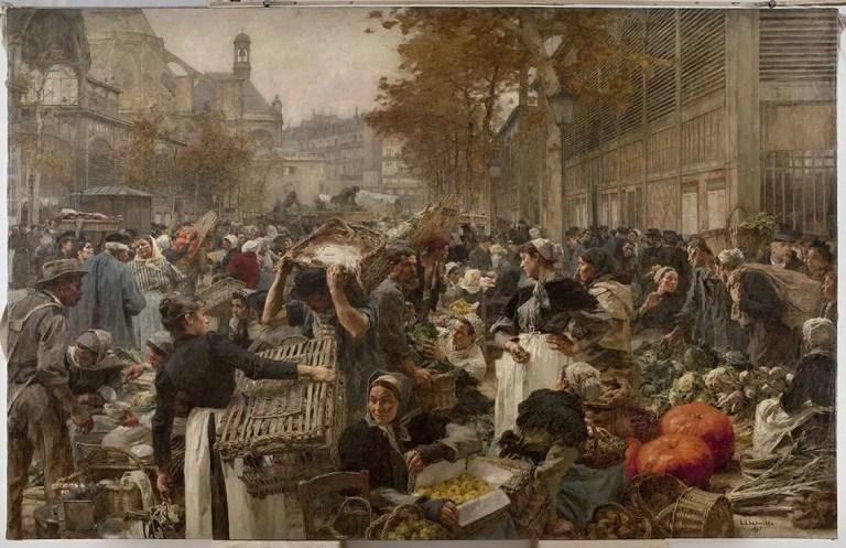Léon Lhermitte, Les Halles (1895), olio su tela, Paris, Petit Palais. Pittura del principale mercato di Parigi all fine del XIX secolo.