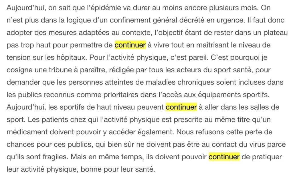 """esempio di testo in cui si usa """"continuer DE e A..."""""""