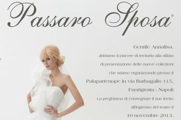 L'invito alla sfilata di Passaro Sposa