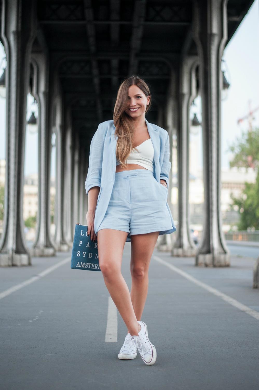 Baby Blue Linen Suit X Millman Street La Minute Fashion