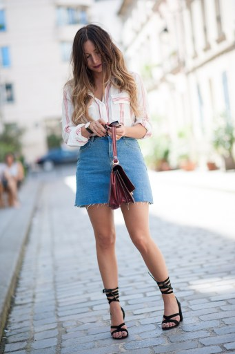 casual outfit denim skirt x stripes shirt