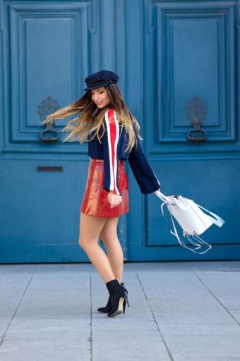 streetstyle jupe rouge vinyle tendance