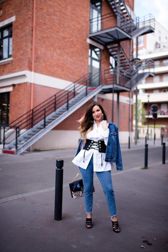 denim outfit with corset fashion blog