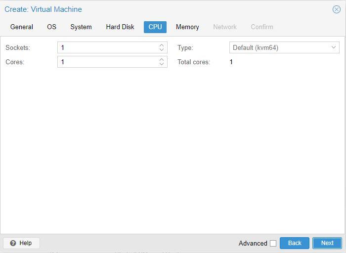 Menentukan jumlah cpu untuk VM Proxmox