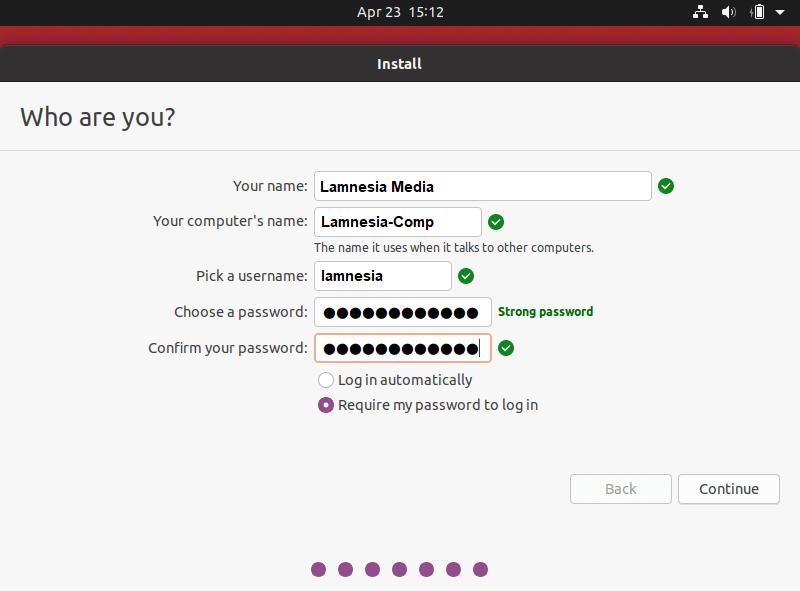 Mengisi credential untuk login ke dalam ubuntu 20.04